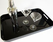 Vintage High Gloss Black Serving Tray - Sophisticated and Elegant