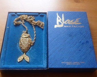 Vintage Blase Max Factor Fish Necklace and Chain in orginal box