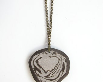Handmade Stoneware Clay Pendant -  Durable Pure Brass 32 inch chain