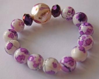 Fancy Plum Glass Bead Stretch Bracelet.