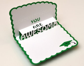 Pop-Up Graduation Card - You Are Awesome Green