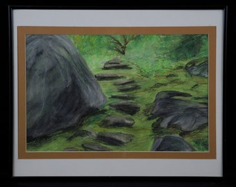Off the Beaten Path - An original, framed oil pastel landscape