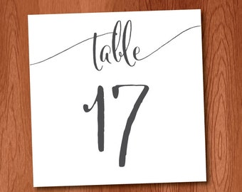 Black Ink Instant Download DIY Printable Casual Calligraphy Table Numbers 1-25