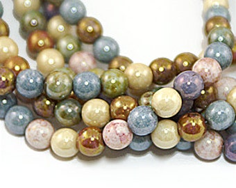 Opaque Lustre Mix 6mm Round Czech Glass Beads x 50