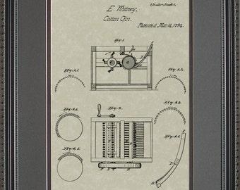 Cotton Gin Patent Artwork Farmer Gift WX072