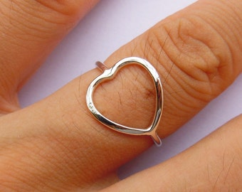 Sterling Silver Heart Shape Ring All Sizes