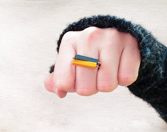 Stacking Rings // Minimal Ring // Wood and Brass Ring // Yellow / Blue / Green / Modern Jewelry / Wood Ring / Brass Ring