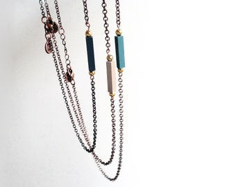 Stacking Necklaces // Minimal Necklace // Geometric Necklace // Hand-Painted Pendant // Blue / Mint / Beige / Modern Jewelry / Wood Necklace