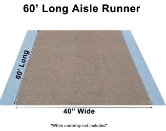 "60 Feet Burlap Aisle Runner - 40"" Inch Width"