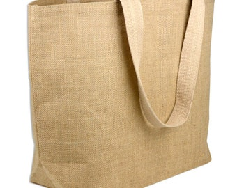 "22"" X 16""X 6"" Natural Burlap Beach Bag (x6)"