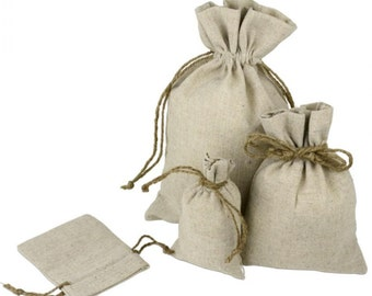 6 x 10 Linen Bags With Jute Drawstring (12 Pack)