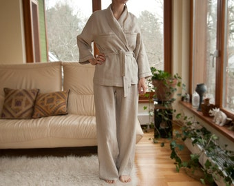 Pure Linen Pajama Shirt and Pants for Women