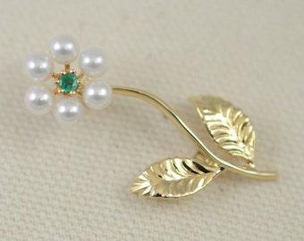 Vintage Emerald & Pearl 14K Flower Pin