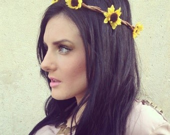 Flower Crown Hair Wreathe- SUNFLOWER HEADBAND- Hair Crown- Flower Crown Trendy