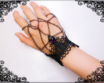 Gothic Victorian style handmade black venise lace wrist cuff with chain