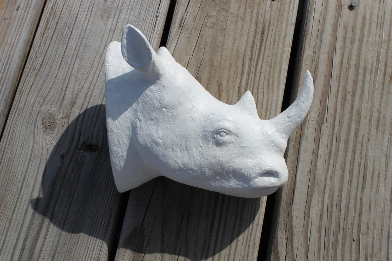 faux taxidermy white rhino head wall mount. Black Bedroom Furniture Sets. Home Design Ideas