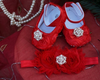 Red Baby Crib Shoes,  Satin, Rosette, Baby Shoes, Baptism Shoes, Wedding, Christening Shoes, Sparkle, Fancy Shoes, Soft Shoe