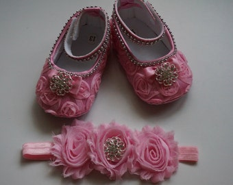 Pink baby shoes, Baby Girl Pink Satin Rosette Crib Shoes ,Christening shoes, Baptism shoes