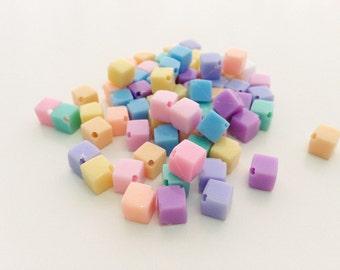 100 pcs Tiny square mix colors plastic pastel beads