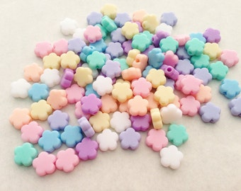50 pcs Tiny Flowers mix colors plastic pastel beads