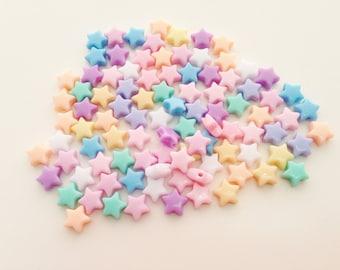 100 pcs Tiny Stars mix colors plastic pastel beads