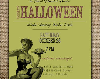 Halloween Party Invitation : Grown Up Party with Pin Up Zombie Girl