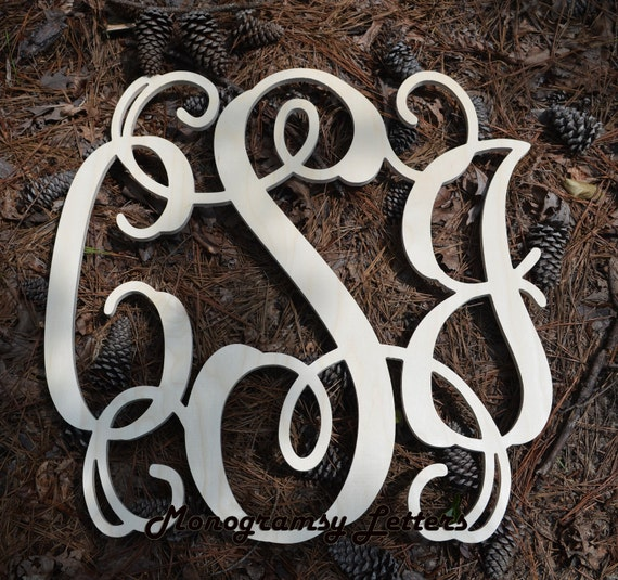 "Large (26"") Wooden Monogram-Ready to Paint-Monogram your Home, Wedding decor"