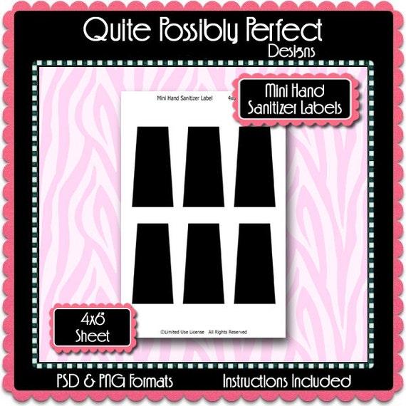mini hand sanitizer label template instant download psd png. Black Bedroom Furniture Sets. Home Design Ideas