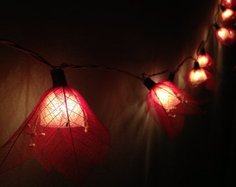 Red String Lights For Bedroom : Fairy lights 20 White Carnation Flower String by fairylighting