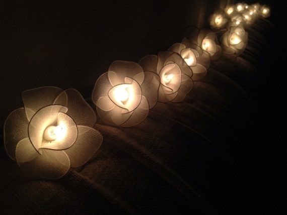 Fairy String Lights 20 White Flower String By Fairylighting