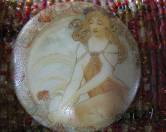 Art Nouveau Daydreaming Damsel Czech Glass Button 42mm