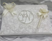 Unique handmade wedding personalized guest book covered with Embroidered tole fabrics staffed with sponge