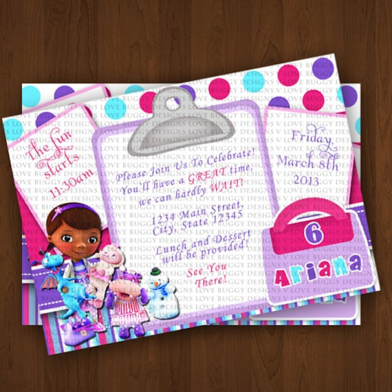 Doc Mcstuffins Invitations Doc Mcstuffins by lovebuggydesigns