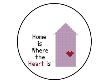 Cute Cross Stitch Pattern, Home Is Where The Heart Is CrossStitch Pattern PDF, Instant Download