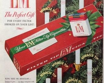 1954 Christmas L&M Cigarette Ad, Paper Ephemera from a Saturday Evening Post.