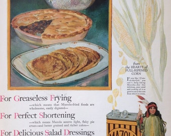 Beautiful 1925 Mazola Oil Ad, Vintage Paper Ephemera from a Pictorial Review.