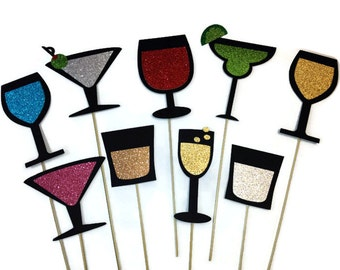 Photo Booth Props - 9 Piece Drink Collection Set - Photo Booth Props with Glitter