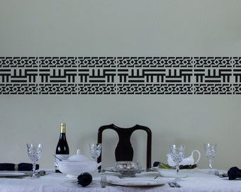 Traditional African Motif Vinyl Wall Decal Border for Interior Design