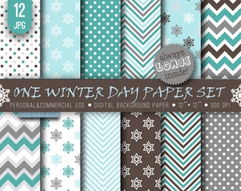12 x 12 Christmas Winter Digital Paper, 12 x 12 paper, brown blue white paper, winter xmas christmas snowflake chevron party cards paper