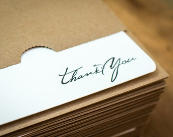 25 Letterpress Rustic Script Thank You Note Cards with Sturdy Kraft Paper Envelopes Handmade on a century old letterpress, o