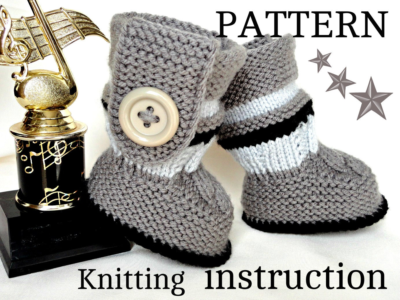 Knitting Pattern For Baby Boy Shoes : Knitting PATTERN Baby Booties PATTERN Knit Baby Shoes Baby Boy Baby Girl Patt...