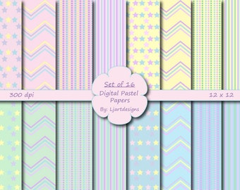 Sale 50% Off, Pastel Scrapbooking Papers, Baby, Digital, Crafts, Pink, Blue, Green, Yellow, Patterned, Chevron, Polka Dot, Baby Shower