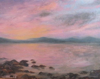 Pink Sunset Maine Original Oil Painting