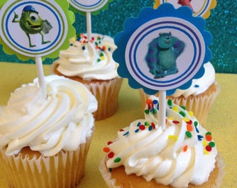 Monsters Inc cupcake toppers,  12 Ready-to-Ship