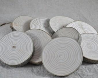 10 Rondelles 5.5/6 cm en bois brut - frêne