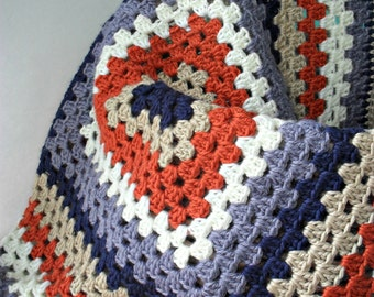 varsity baby blanket granny square afghan orange blue stripe