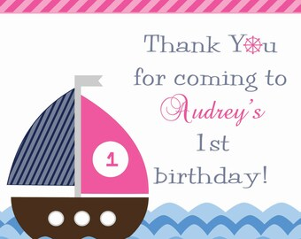 Girl's Nautical Sailboat Birthday Favor Tags or Cupcake Toppers