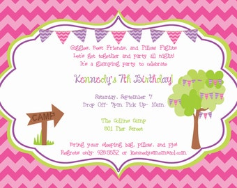 Girls Camping, Slumber Party, or Glamping Invitation