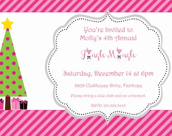 Jingle Mingle Christmas Holiday Party Invitation