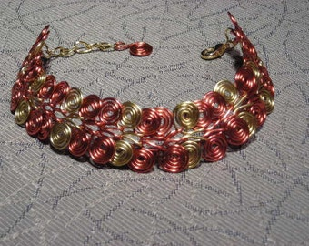 Egyptian Coil Gold & Copper Chainmaille Bracelet